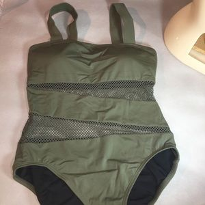 NWOT One Piece Olive Green Swimsuit Size 10